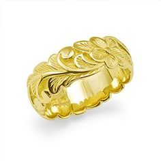 Plumeria Scroll 8mm Ring in 14K Yellow Gold - Sizes 8-8.75