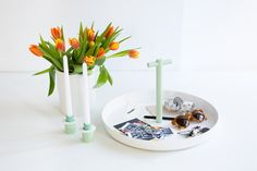 PLAYING FIELD CANDLESTICKS AND TRAY