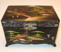 Vintage 1950s Japanese Jewelry Box Pearl Abalone Inlay Musical