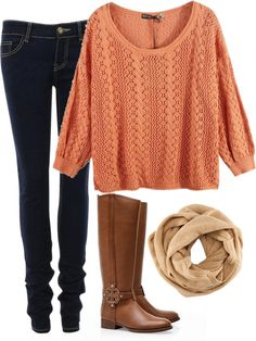 Tory Burch boots, dark skinny jeans, orange sweater and light scarf...