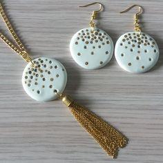 Katia Kreazioni: Parure per le Feste. Collana con pendente e orecchini in pasta di mais