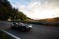1956 Jaguar D-Type driven by Martin Brundle and Bruno Senna