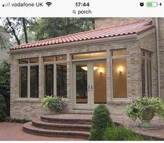 3 Season Room, Quarry Tiles, Sunroom Addition, Maine House, Tile Floor, Brick, Pergola, Porch, Garage Doors