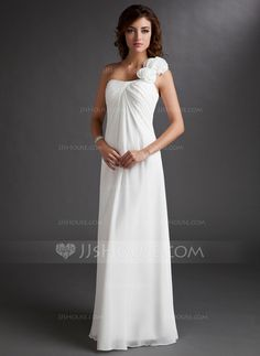 Bridesmaid Dresses - $116.49 - Empire One-Shoulder Floor-Length Chiffon Bridesmaid Dress With Ruffle Flower(s) (007016719) http://jjshouse.com/Empire-One-Shoulder-Floor-Length-Chiffon-Bridesmaid-Dress-With-Ruffle-Flower-S-007016719-g16719?pos=your_recent_history_1