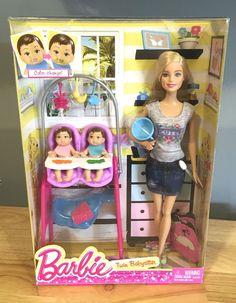 barbie toy NEW Barbie Careers Twin Babysitter Doll and Playset NIB Barbie Kids, Baby Barbie, Barbie Dolls Diy, Diy Barbie Clothes, Barbie Family, Barbie Doll House, Barbie Dream, Baby Alive Dolls, Baby Dolls