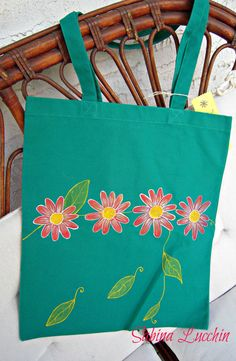 SALE    Hand Painted Canvas Tote Bag OOAK by BrushandClay on Etsy, $10.00
