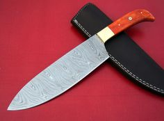 A2 BLADES DAMASCUS STEEL CUSTOM HANDMADE BEAUTIFUL CHEF KNIFE COLOR BONE HANDLE.