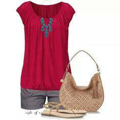 Fuchsia top and smoke gray shirts casual outfit