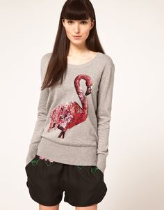 Grey marle. Sequins. Birds. Three of my favourite things. Makes me think of C.J. Cregg codename Flamingo.