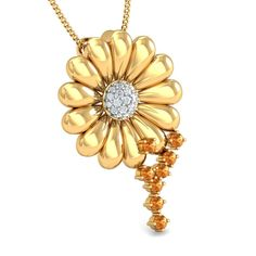 This radiant flower pendant is sure to make you the center of attention in any party. The solid gold petals and the gleaming core is absolutely gorgeous and can accentuate your any style. Gold Pendant, Pendant Necklace, White Stone, Flower Pendant, Absolutely Gorgeous, Solid Gold, Core, Jewels, Floral