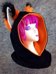 FOX ear Cowl hood hat cosplay ninja anime furry warm goth handmade mens womens on Etsy, $40.00