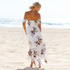 White flower print beach maxi dress