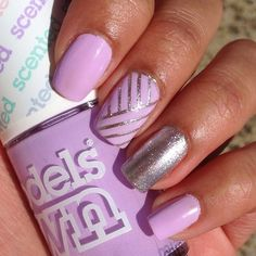 Cute purple and silver nails