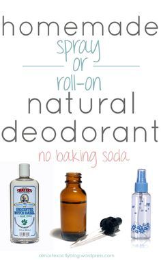 deodorants (without baking soda) chemical-free homemade spray OR roll-on deodorant (no baking soda or coconut oil) -- If all else fails!chemical-free homemade spray OR roll-on deodorant (no baking soda or coconut oil) -- If all else fails! Diy Deodorant, Essential Oil Deodorant, Diy Natural Deodorant, Baking Soda Shampoo, Baking Soda Uses, Baking Clay, Cake Baking, Beauty Hacks For Teens, Salud Natural