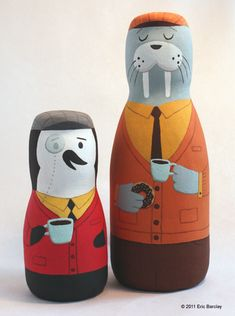 """Mr. Shackleton and Mr. Hudson share a love of tweed hats, cardigan sweaters and strong coffee. Neither cares much for killer whales."" Acrylic on coffee mate containers by Eric Barclay. Cute way to recycle!"