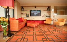 Orange living room with Orange furniture