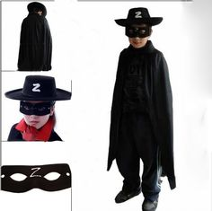 Zorro Halloween Children Cosplay Cloak Three-piece Suit Performance Clothing