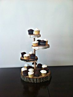 Rustic Wood Cake Stand 4 tier by CrossMyLove on Etsy, $68.00