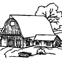 barn barn house covered with snow coloring page