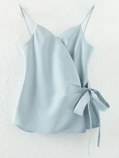 Cheap tee shirt, Buy Quality crop top directly from China blusa casual Suppliers: Jastie Summer Women V-Neck Spaghetti Strap Crop Top Bow Drawstring Side Open Tee Shirts Tank Solid Color Casual Blusas Tops Cami Tops, Women's Summer Fashion, Trendy Fashion, Mode Inspiration, Mode Style, Ladies Dress Design, Blue Tops, Ideias Fashion, Cute Outfits