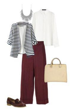Capsule Closet   Abril 2016   Day 13 (Bordeaux culottes, bordeaux shoes, beige handbag, white blouse, stripes blazer)