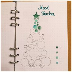 Christmas Tree Mood Tracker for your Bullet Journal - itstartswithacoff. - Bullet journal İdeas in 2019 Bullet Journal Tracker, Bullet Journal December, Doodle Bullet Journal, Bullet Journal Page, Bullet Journal Christmas, Bullet Journal Aesthetic, Bullet Journal Notebook, Bullet Journal Themes, Bullet Journal Spread