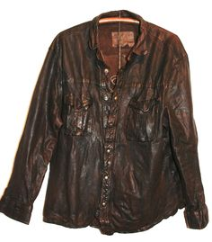 Men's Leather Shirt Jacket Hand Distressed