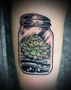 succulent in a mason jar on julie. by david hale.
