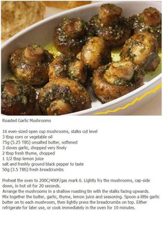 Yummy Roasted Garlic Mushrooms