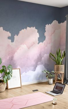 Float above the soft clouds in your space with this ethereal sky wallpaper mural, painted in pastel sunset tones with pink, purple and blue watercolors. Created by designer Jess, this highly detailed wall design works beautifully to create a number of different interior styles – whether you're decorating a cute kids' room, dreamy nursery, serene bedroom or a spa-like bathroom space. Painting Over Wallpaper, Cloud Wallpaper, Watercolor Wallpaper, Sunset Wallpaper, Pastel Wallpaper, Room Wallpaper, Wallpaper Murals, Modern Wallpaper, Pastel Sunset
