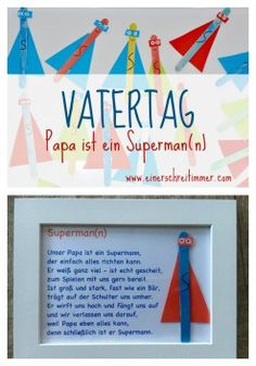 Father& Day Gift: Ultra Fast DIY: Dad is our superhea .- Vatertag Geschenk: Ultraschnelles DIY: Papa ist unser Superheld Father& Day Dad-Is-a-Superman Father& Day Gift: Ultrafast DIY: Dad is our Superhero - Diy Gifts For Christmas, Diy Father's Day Gifts, Diy Gifts For Kids, Father's Day Diy, Presents For Kids, Gifts For Dad, Diy For Kids, Anniversary Crafts, Anniversary Gifts For Parents
