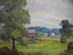 HORTENSE BUDELL RED BARN FARMLAND OIL PAINTING NEW HOPE PA IMPRESSIONIST