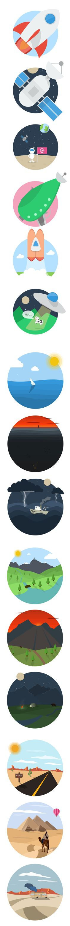Flat Illustrations (Space, Sea, Mountains and Desert) by Mateusz Dembek, via Behance