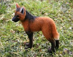 Maned Wolf - needle felted, realistic by FursettoCreations on DeviantArt Wolf Sculpture, Maned Wolf, Needle Felting, Sculptures, Fox, Deviantart, Animals, Drawing Drawing, Animales