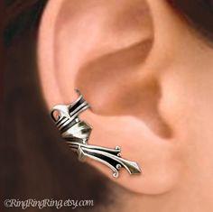 Roman silver ear cuff earring jewelry - Right non pierced earcuff for men and women