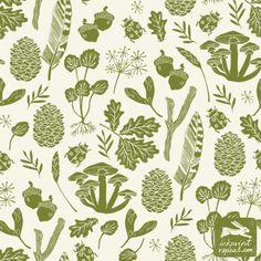 pattern, linocut, print pattern design, linocut, nature, mushroom, printmaking, printmaker, illustration