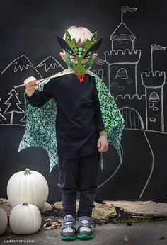 Homemade Halloween Costumes: No-Sew Dragon Mask and Cape