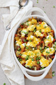 Twice-Baked Potato Casserole: red potatoes, mushrooms, red pepper, Greek yogurt and cheese. Notes: Would be great for breakfast with a nice runny egg, too.