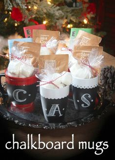 These mugs make a perfect homemade Christmas gift! Teacher gift, neighbors, friends and more will enjoy their personalized chalkboard mug! Pin this to your craft board!