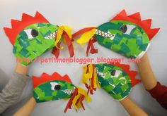 Dinosaur Puppet, Dinosaur Stuffed Animal, Dragons, Tunnel Book, Arts And Crafts, Paper Crafts, Saint George, Book Club Books, Chinese New Year