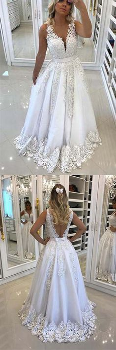 Gorgeous Prom #Gown,A-Line Prom Dress,#V-Neck Prom Dress,#White Prom Dresses,Tulle #Evening Dress,#Long #Prom Dress with #Appliques