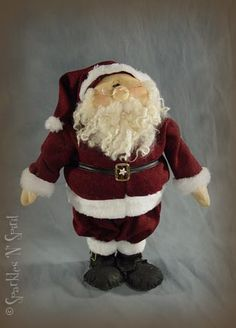 """21"""" SantaPattern:-$10.95Woodkit:-$11.50includes: pre-cut pre-drilled dowels and baseAccessory Pak:-$16.95includes: eyes, glasses, 2 oz. curly wool, vinyl trim, buckles, star buttonPrices include Free Shipping (USA 48)(International Orders accepted, pleasecontact usfor additional shipping/handling costs)"""