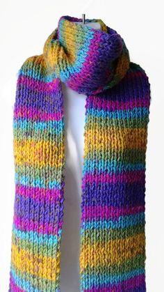 Rainbow Ombre Stripe Knit Scarf Pink Green Blue Yellow Vegan | smittenkittenorig - Accessories on ArtFire