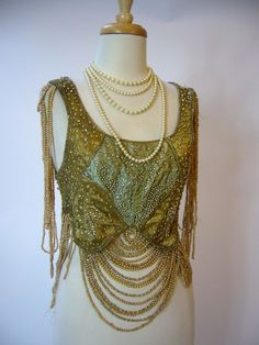 Beautiful 1920s Edwardian Flapper Pearl Drape Metal Lame Top Blouse. Front