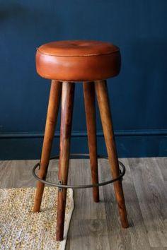 Tapas Bar Leather Stool - Tall
