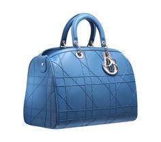 Large light cobalt leather 'Dior Granville' polochon bag