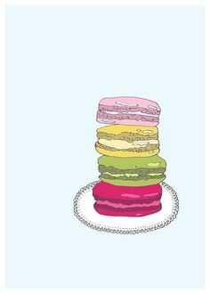 french macarons ink drawing by Kristina Hultkrantz on Etsy