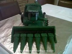 Homemade John Deere Combine Birthday Cake: I baked this John Deere combine birthday cake for my son's sixth birthday. He adores everything farm related and asked for a John Deere combine cake. I