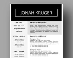 Modern Resume Template Two Page Cover Letter Use with Modern Resume Template, Resume Templates, Resume Design, Social Media Marketing, Lettering, Words, Cover, Etsy, Cv Design