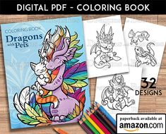 Dragons With Pets Coloring Book
